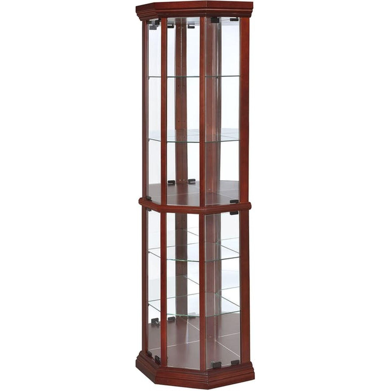 Curio Cabinet in Warm Brown w/ Glass Panels - image-1