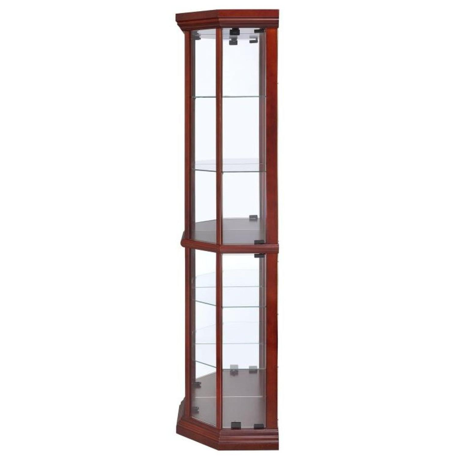 Curio Cabinet in Warm Brown w/ Glass Panels - image-2