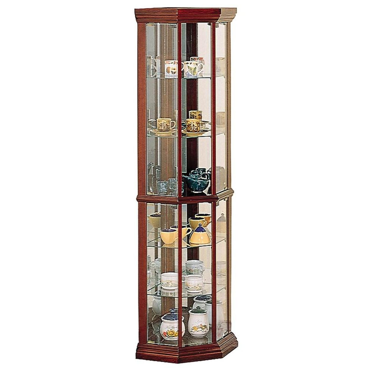 Curio Cabinet in Warm Brown w/ Glass Panels - image-0