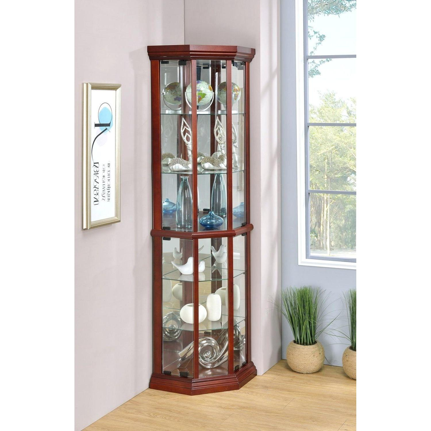 Curio Cabinet in Warm Brown w/ Glass Panels - image-4