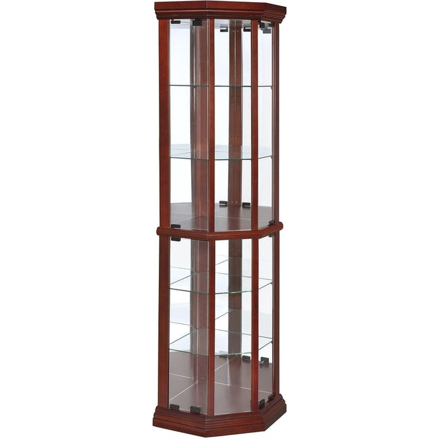 Curio Cabinet in Warm Brown w/ Glass Panels - image-5