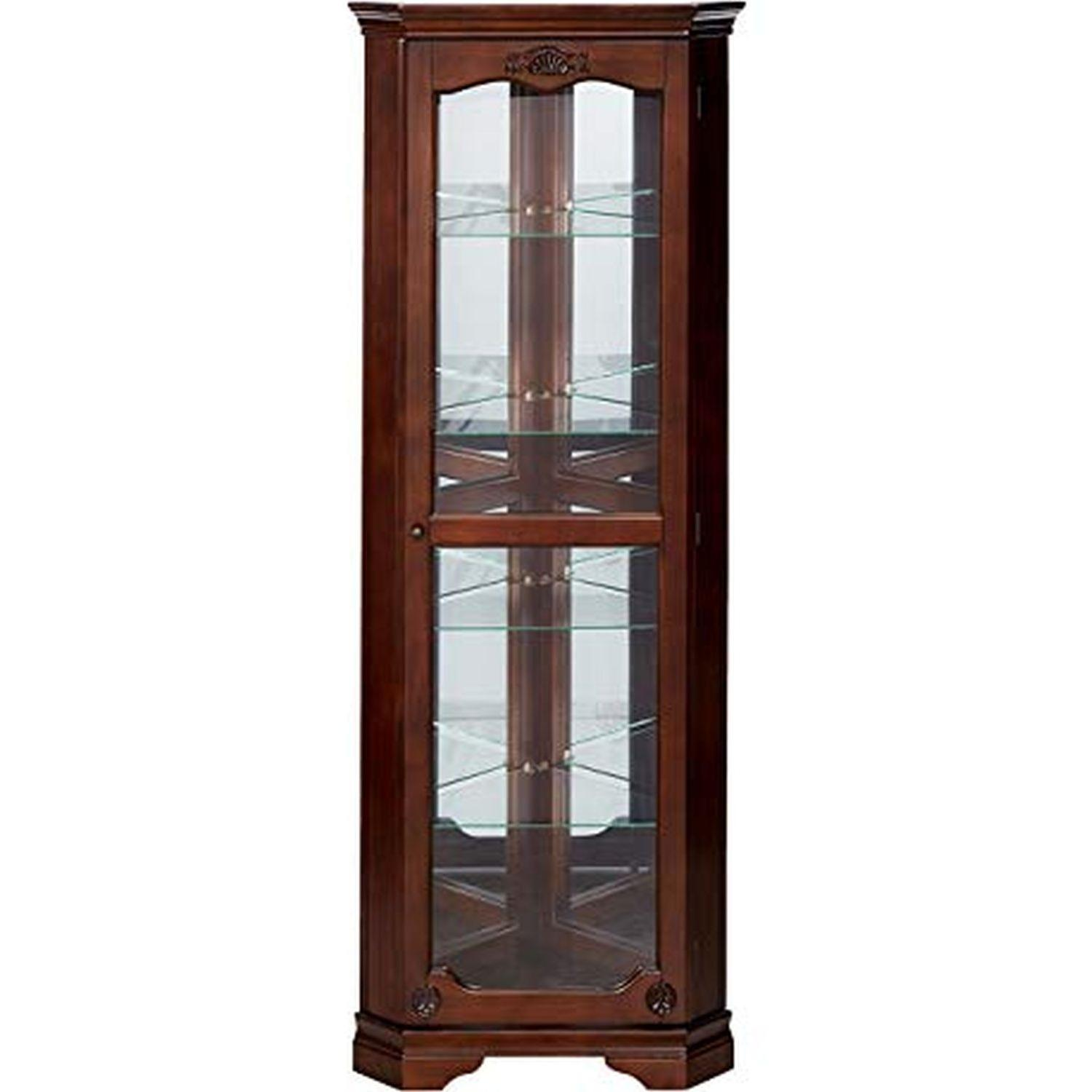 Classic Curio Cabinet in Golden Brown Finish - image-0