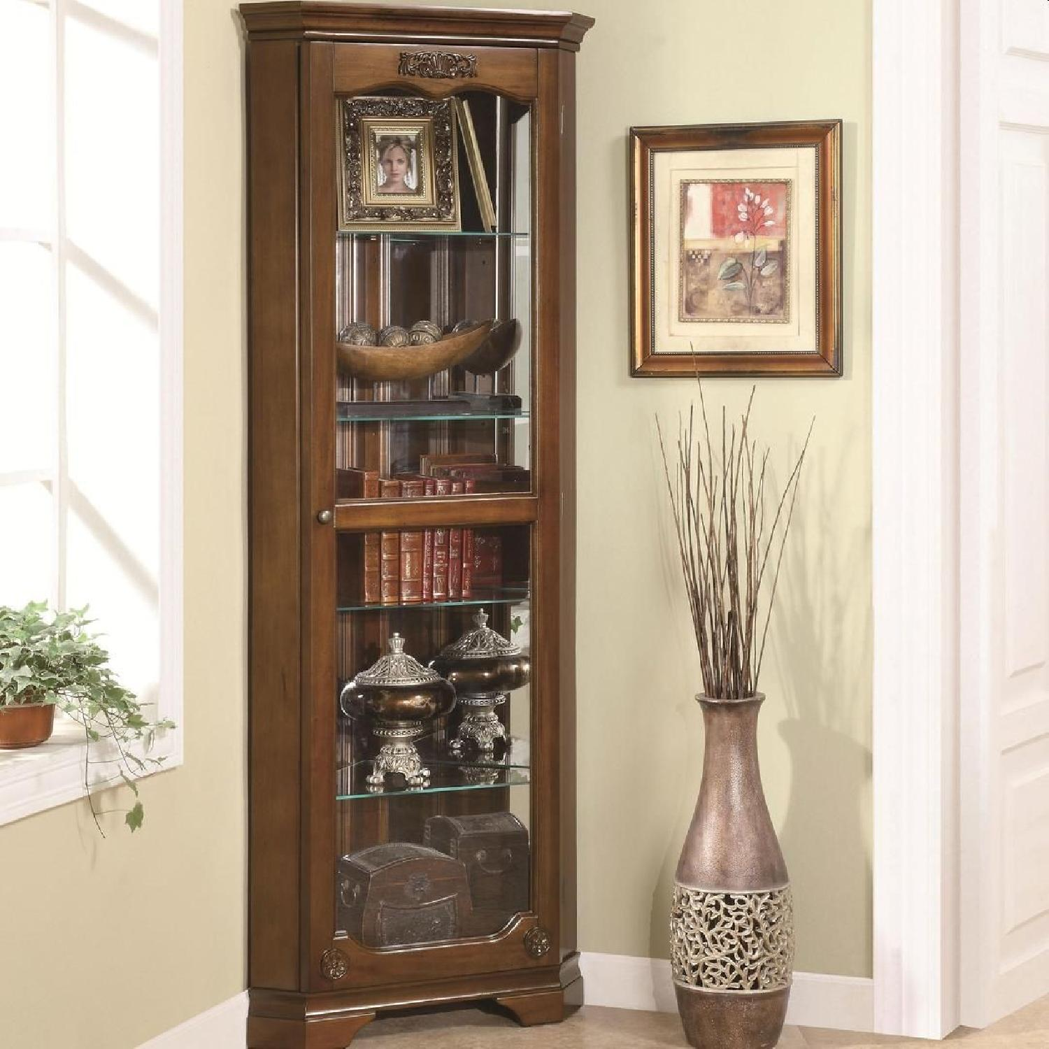 Classic Curio Cabinet in Golden Brown Finish - image-2