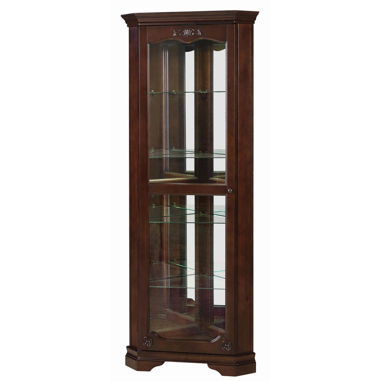 Classic Curio Cabinet in Golden Brown Finish - image-3