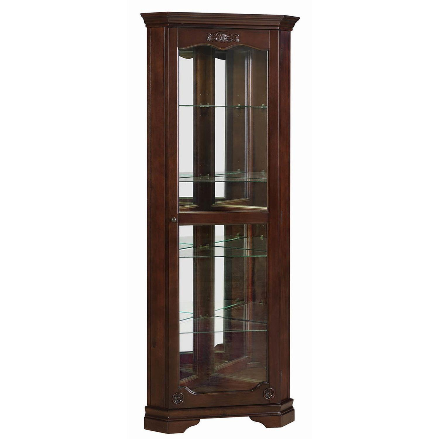 Classic Curio Cabinet in Golden Brown Finish - image-4