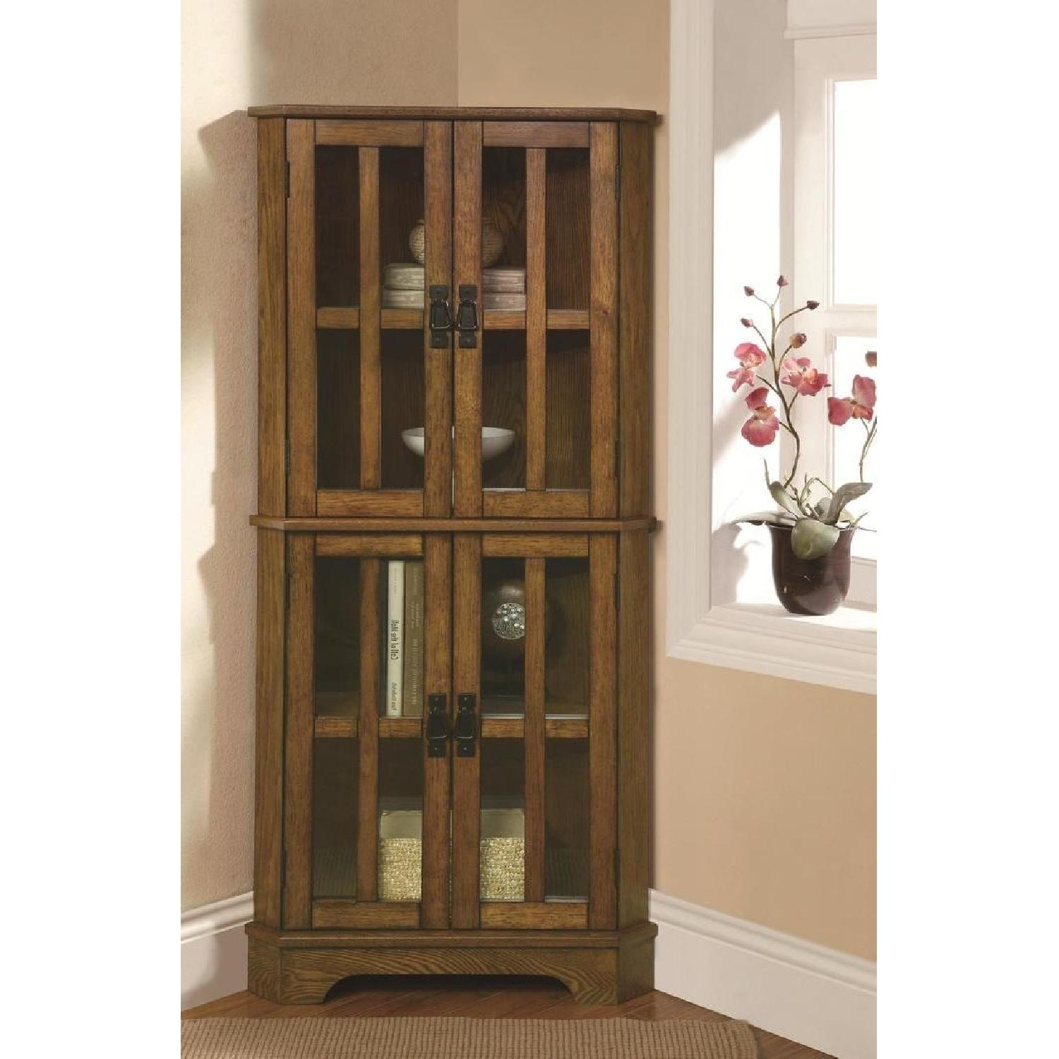 Curio Cabinet in Golden Brown Finish w/ Storage Shelves - image-2
