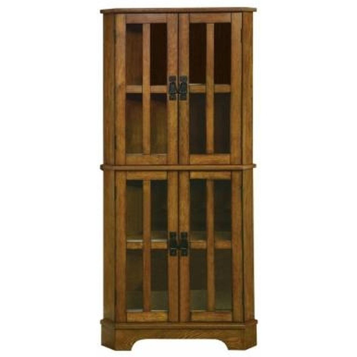 Curio Cabinet in Golden Brown Finish w/ Storage Shelves - image-0