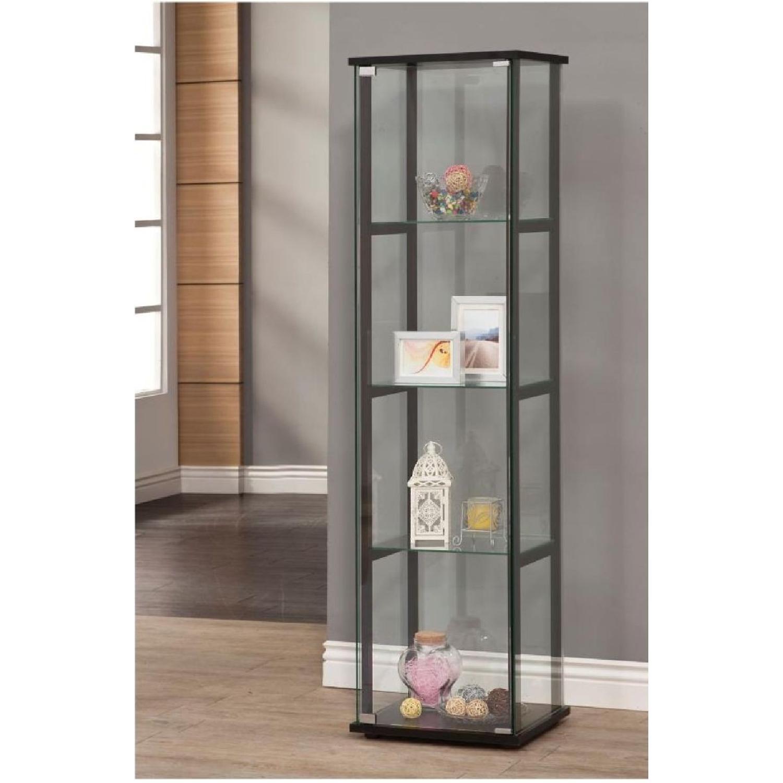 Curio Cabinet w/ Simple Black Ladder Frame - image-2