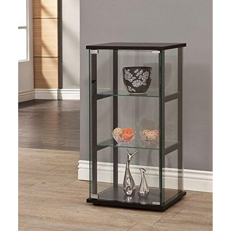 Mini Glass Curio Cabinet w/ Black Frame - image-3