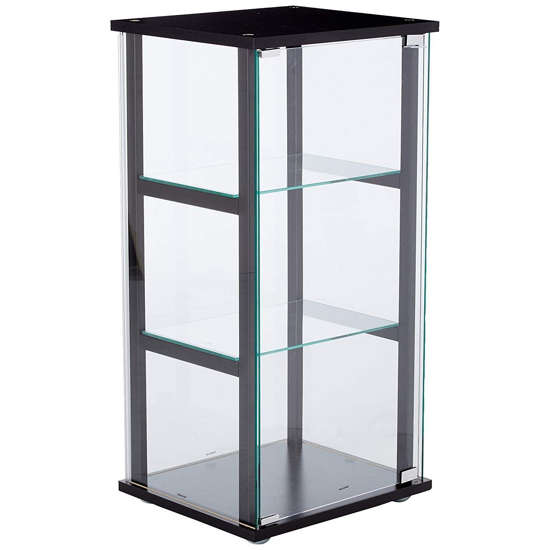 Mini Glass Curio Cabinet w/ Black Frame - image-0