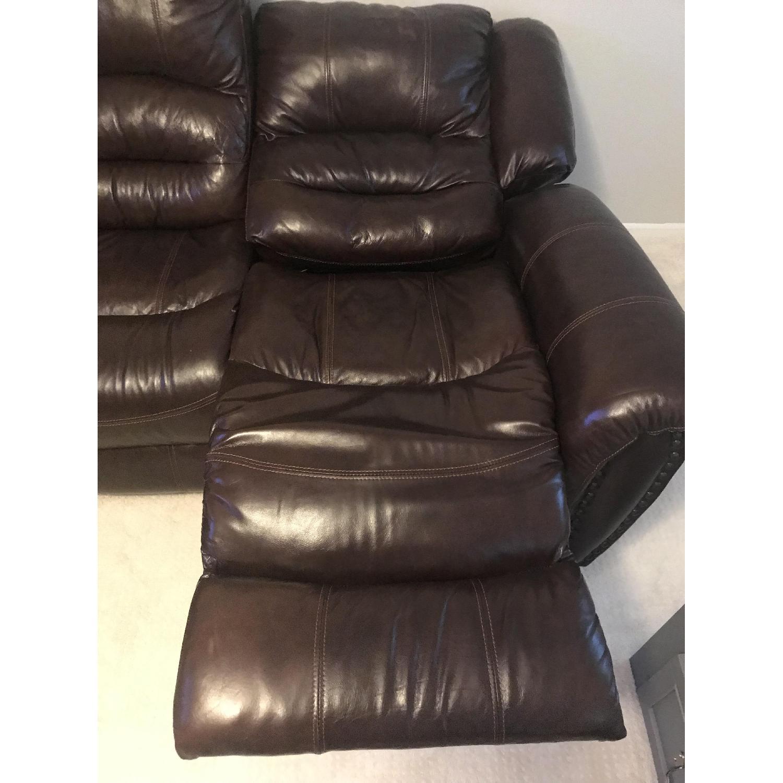 Raymour & Flanigan Cole Dark Brown Leather Reclining Sofa