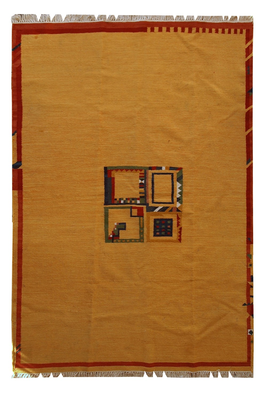 Handmade Vintage Persian Gabbeh Kilim Rug