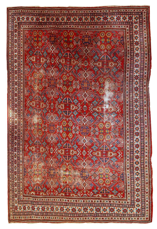 Handmade Antique Distressed Persian Dzhosagan Rug