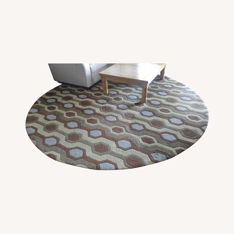 Mid Century Pattern Round Wool Rug