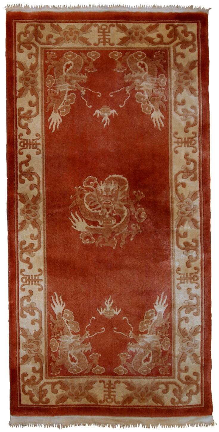 Handmade Vintage Art Deco Chinese Rug