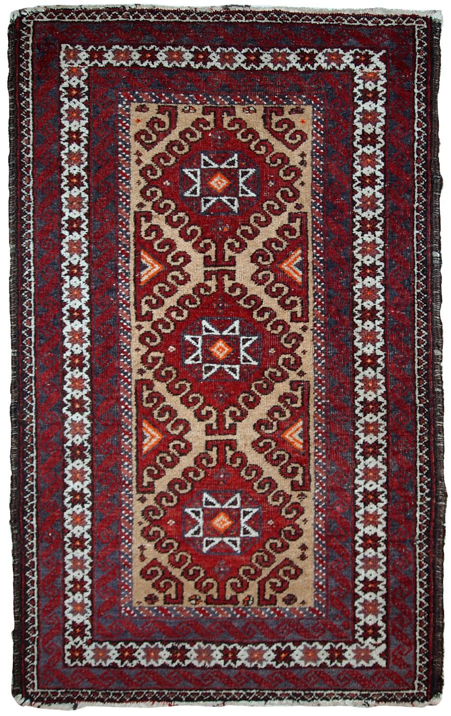 Handmade Vintage Afghan Ersari Rug