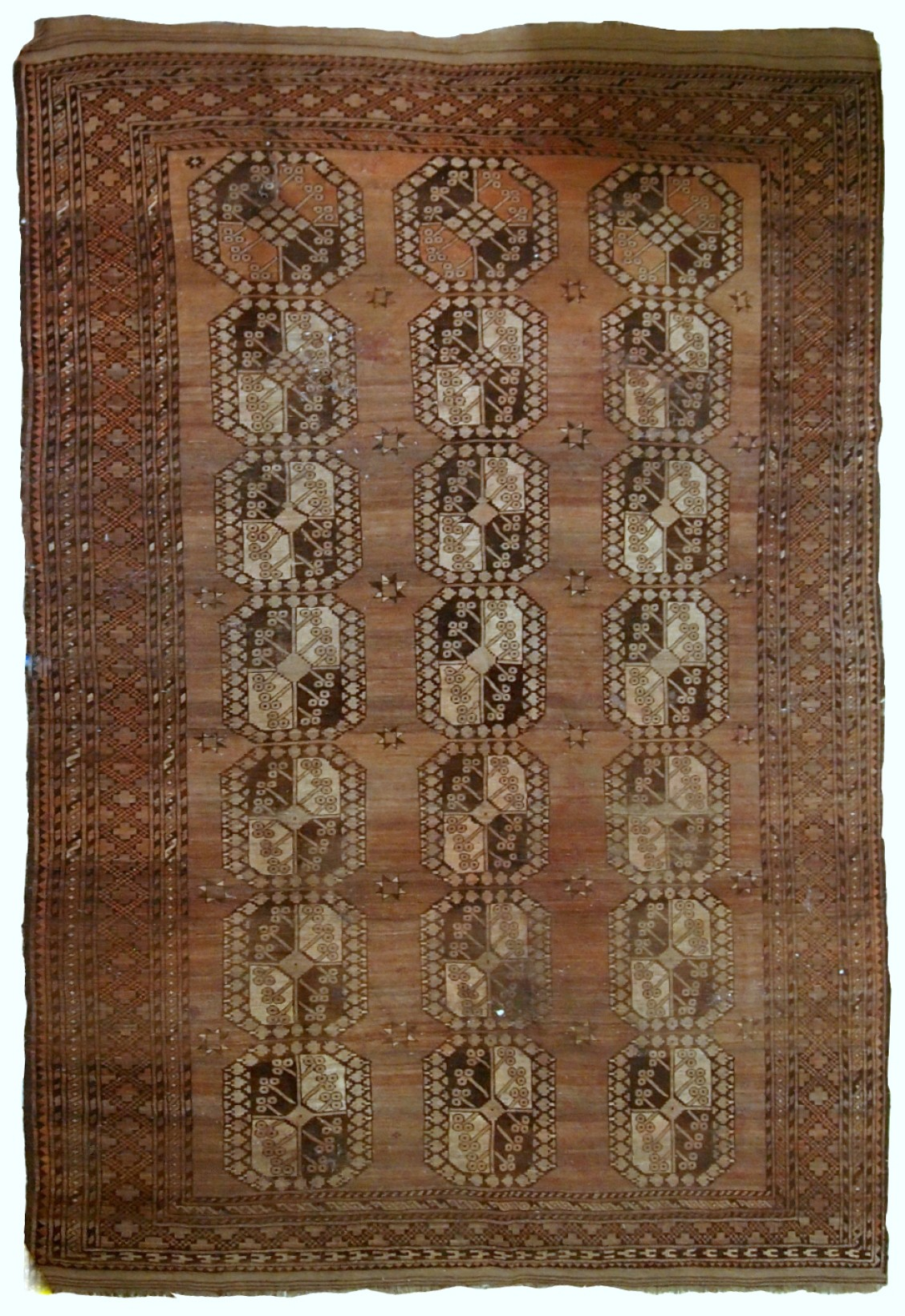 Handmade Antique Afghan Ersari Distressed Rug