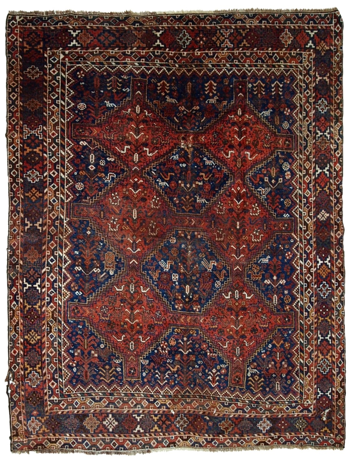 Handmade Antique Persian Khamseh Rug
