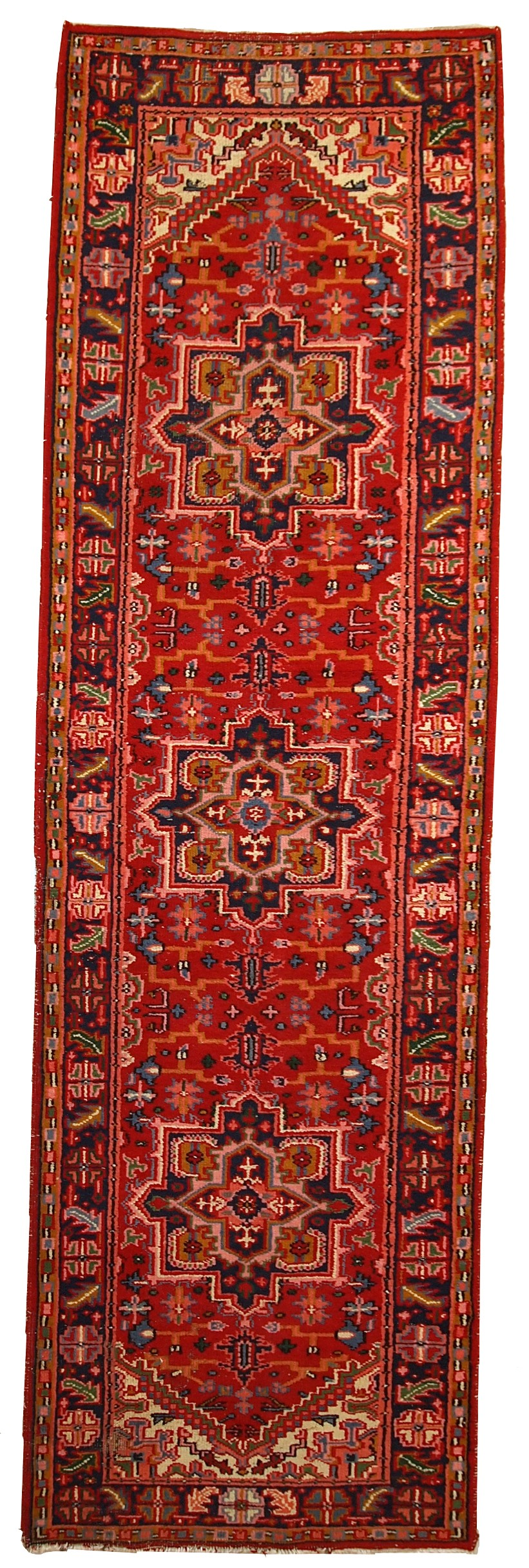 Handmade Antique Persian Heriz Runner Rug