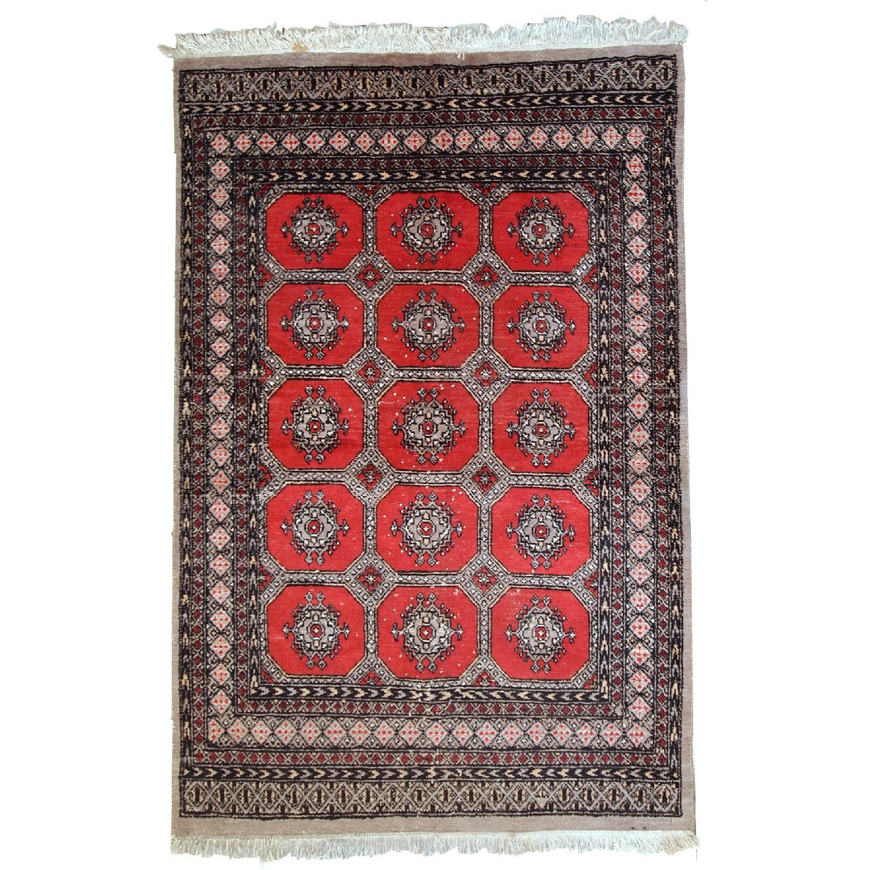 Handmade Vintage Uzbek Bukhara Rug
