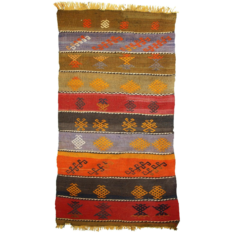 Handmade Vintage Persian Sumak Kilim Rug