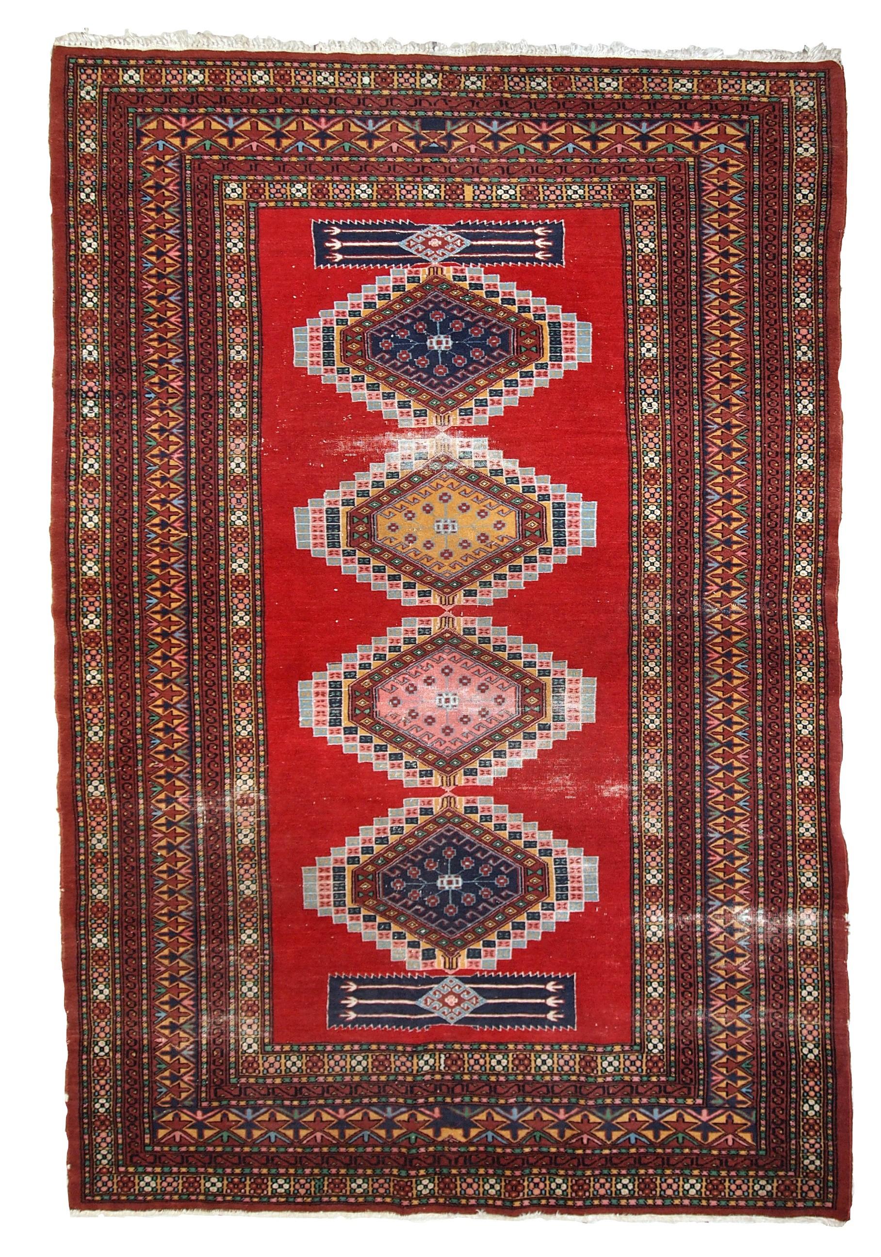 Handmade Vintage Distressed Uzbek Bukhara Rug