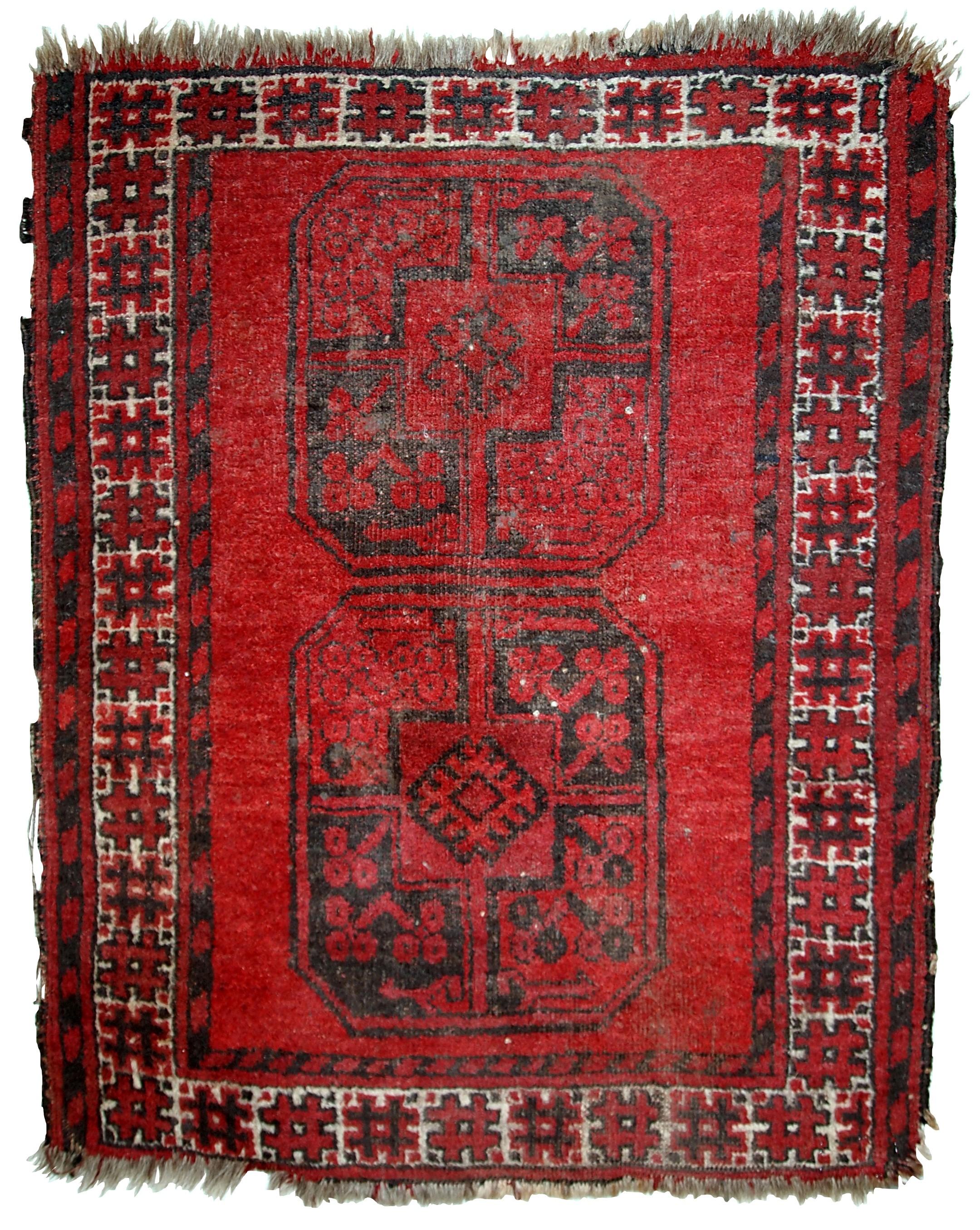 Handmade Antique Afghan Ersari Rug