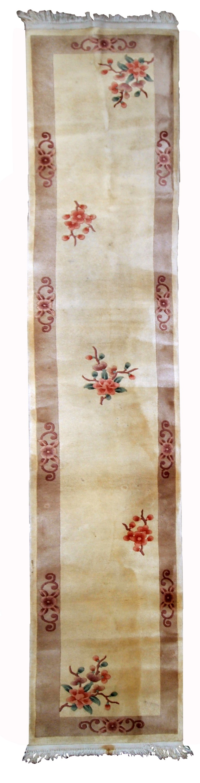 Handmade Vintage Art Deco Chinese Runner Rug