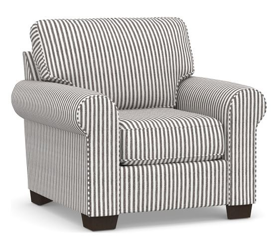 Pottery Barn Chair & Ottoman in Blue Ticking Stripe
