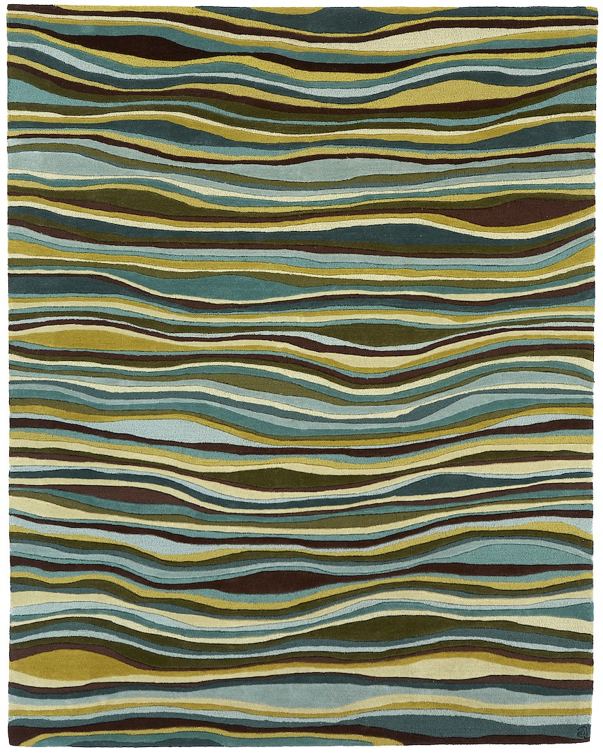Angela Adams Greens & Browns Sculpted Wavy Rug