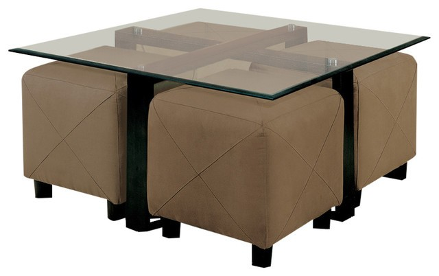 Coaster Square Glass Coffee Table w/ 4 Ottomans