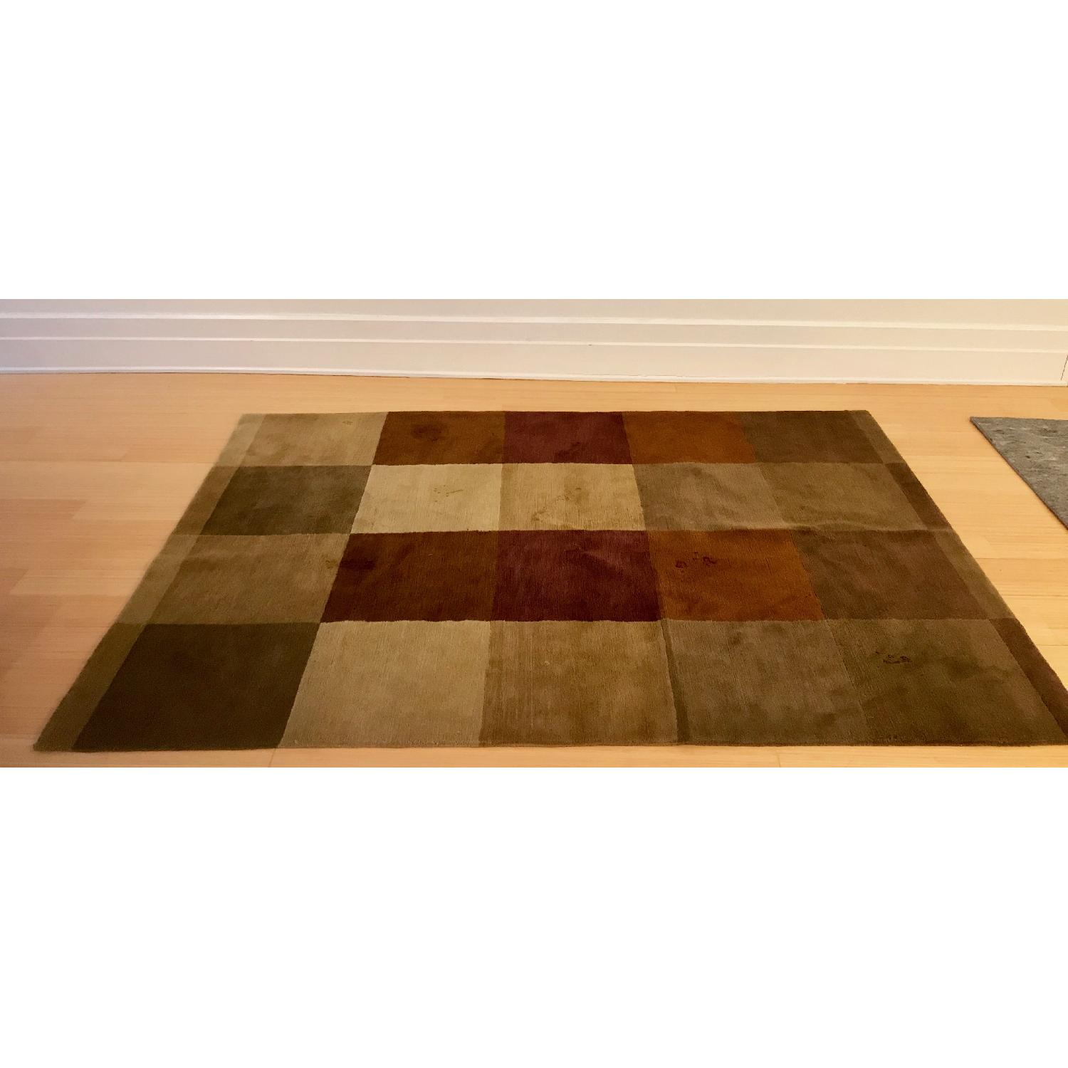 Hand Knotted Tibetan Wool Rug in Neutral Colors - image-1