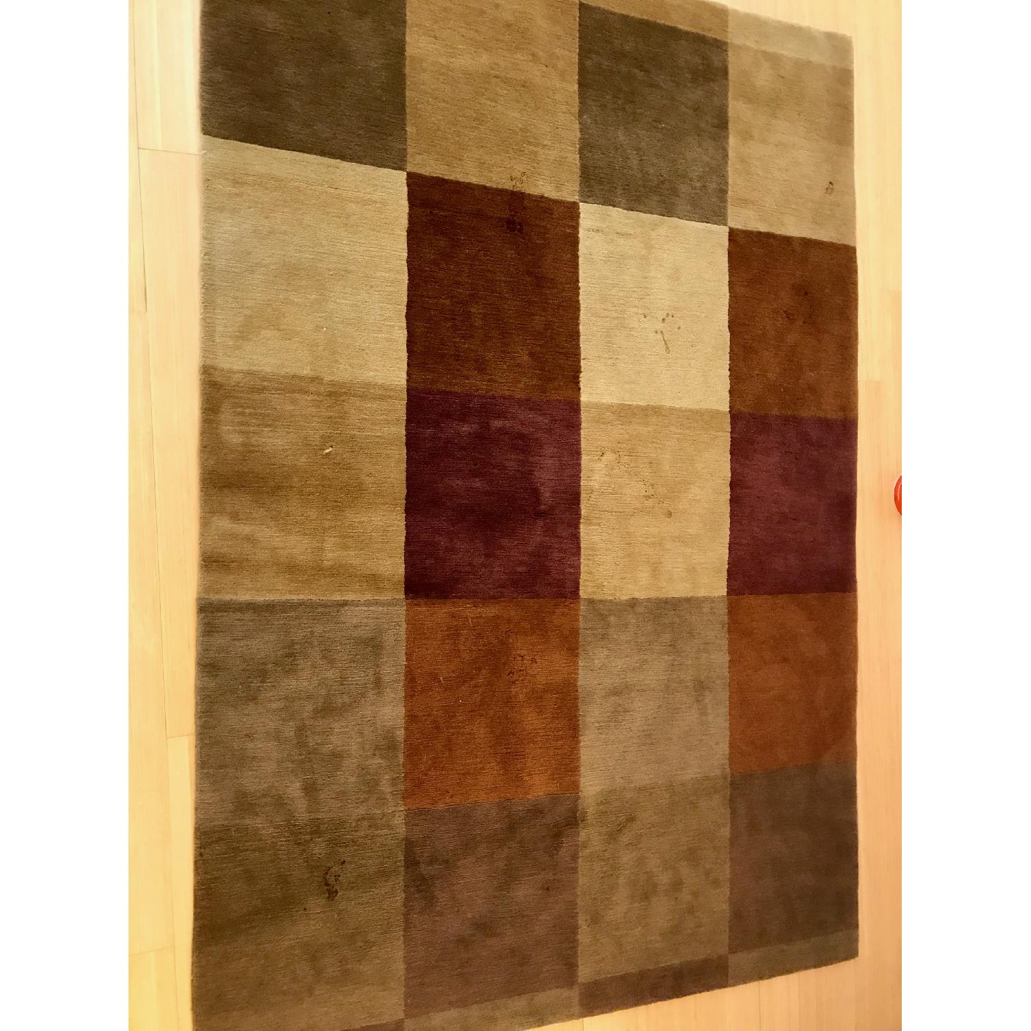 Hand Knotted Tibetan Wool Rug in Neutral Colors - image-4