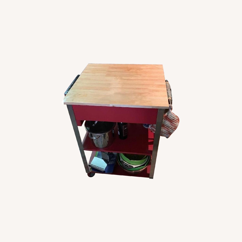 Crosley Kitchen Cart w/ Butcher Block Top - AptDeco