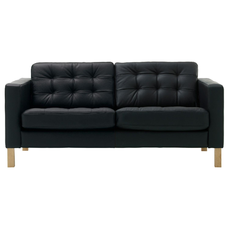 Ikea Karlstad Leather Loveseat w/ Headrests