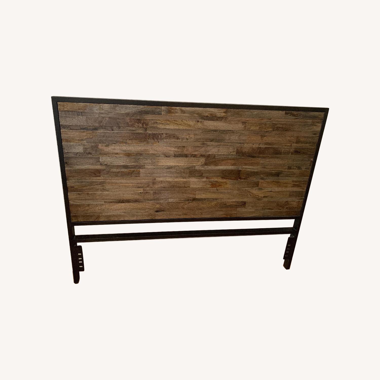 Rustic Wooden Queen Headboard w/ Metal Finishe