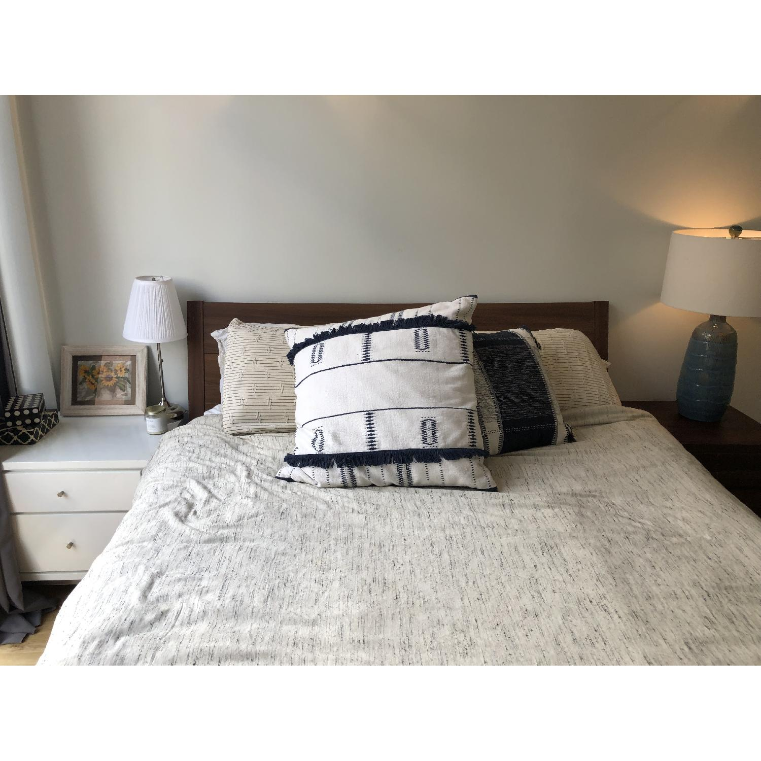 Ikea Nyvoll Brown Queen Bed