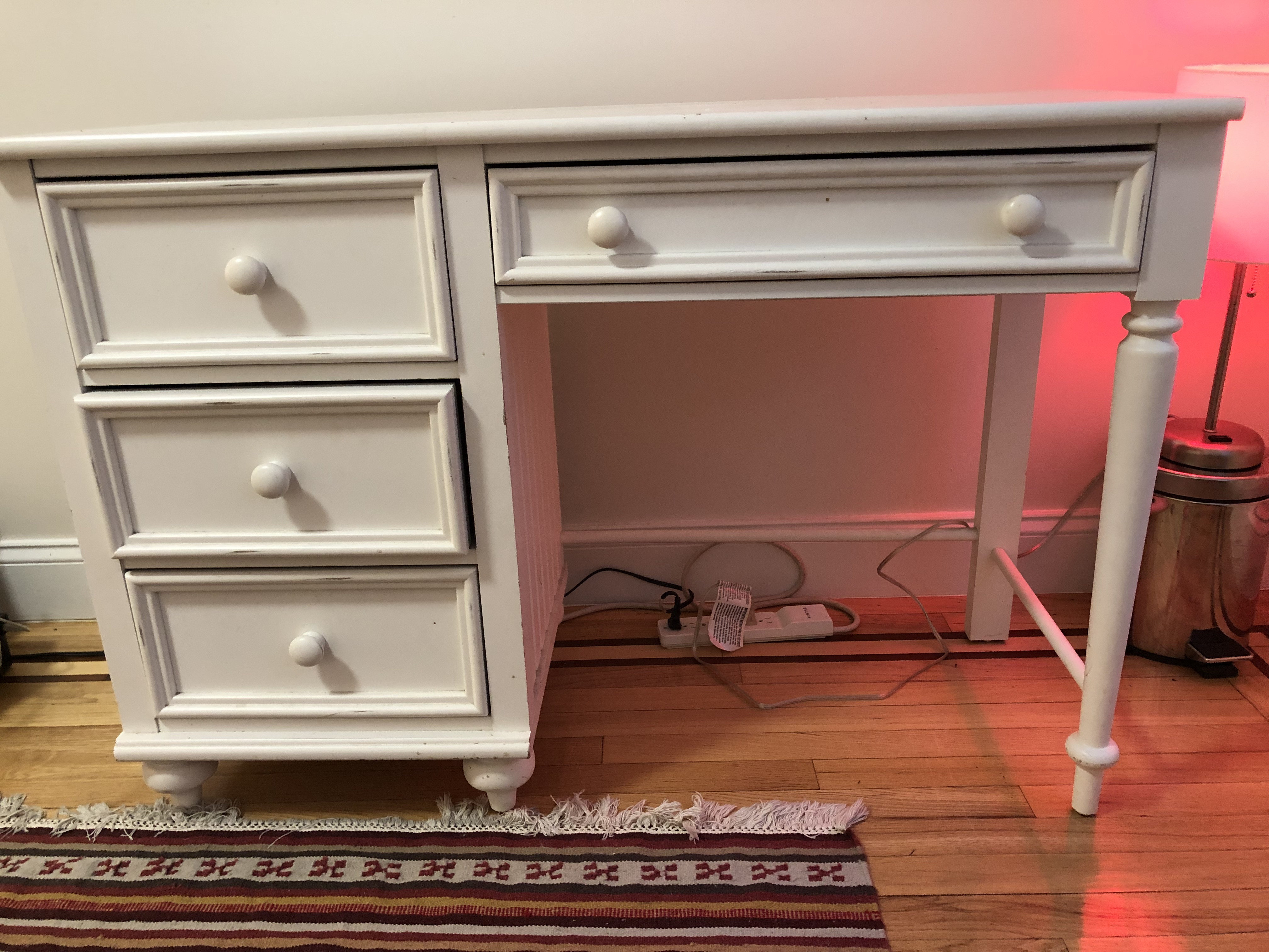 White Wood Desk w/ Storage