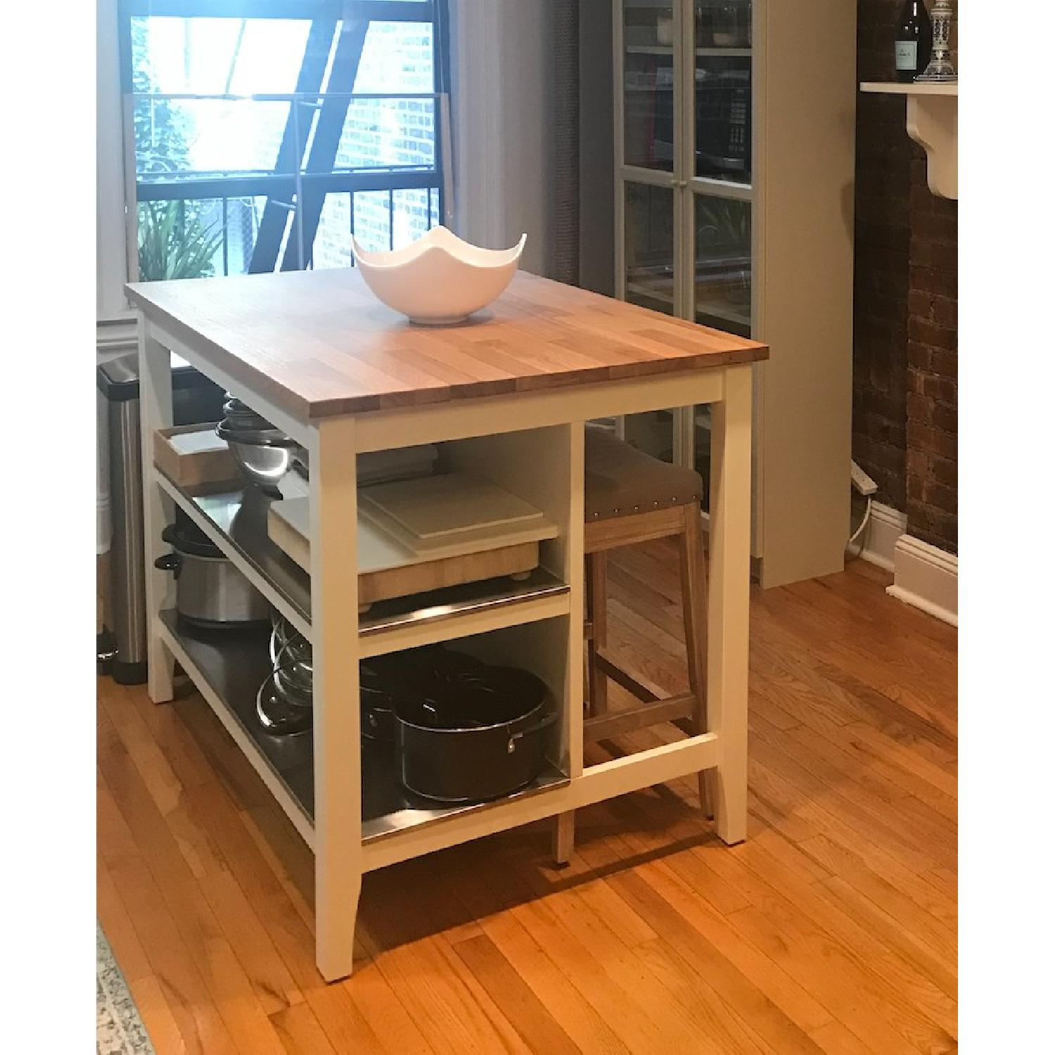 Marvelous Ikea Stenstorp Kitchen Island In White Oak W 2 Stools Aptdeco Pabps2019 Chair Design Images Pabps2019Com
