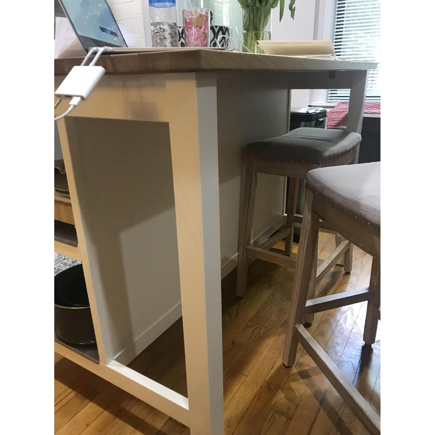 Superb Ikea Stenstorp Kitchen Island In White Oak W 2 Stools Aptdeco Pabps2019 Chair Design Images Pabps2019Com