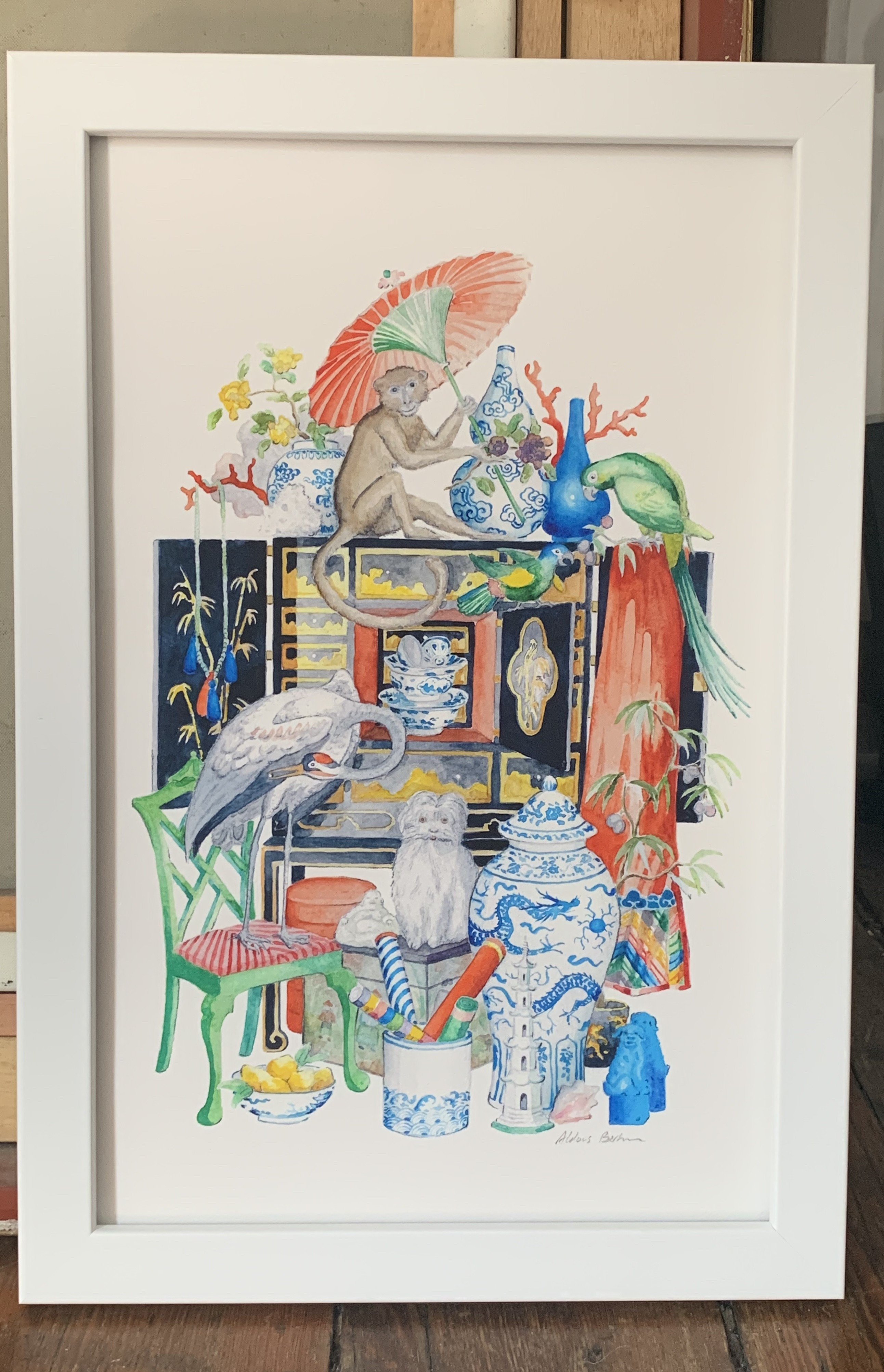 Aldous Bertram Signed Giclee - Chinoiserie Menagerie