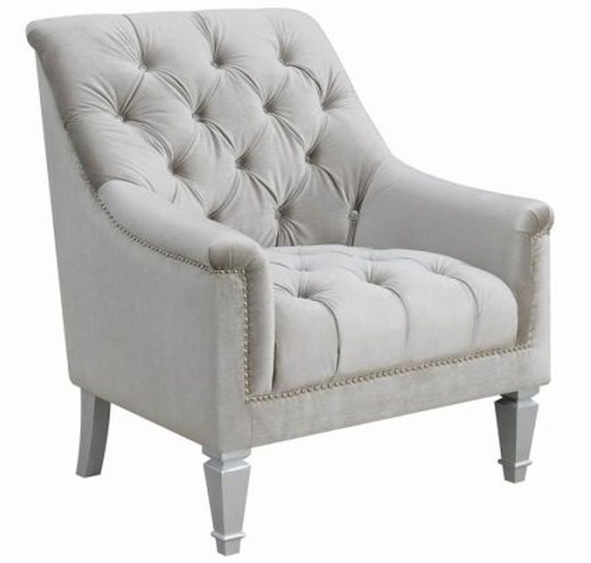 Accent Chair In Grey Fabric U0026 Nailhead Trim   AptDeco