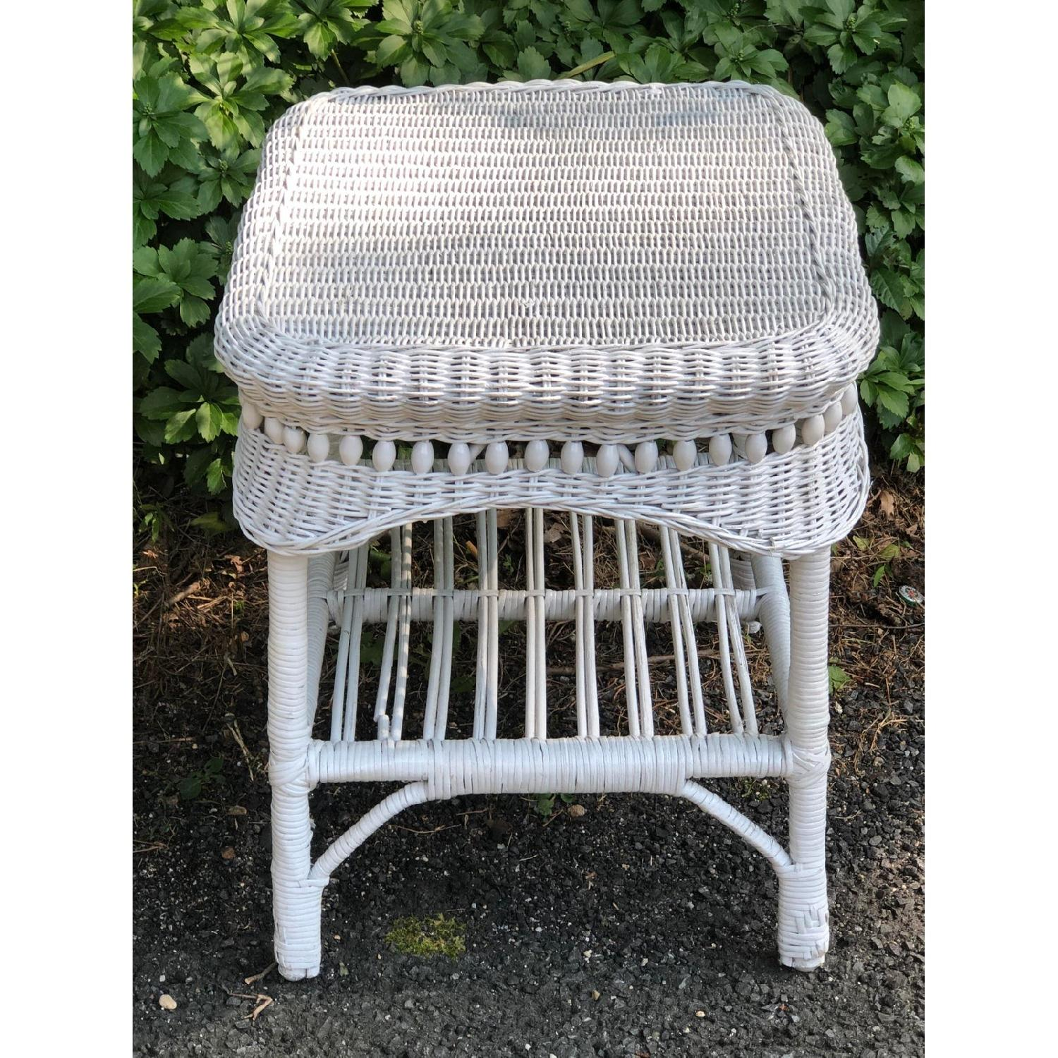 Vintage Shabby Chic White Wicker Side Table