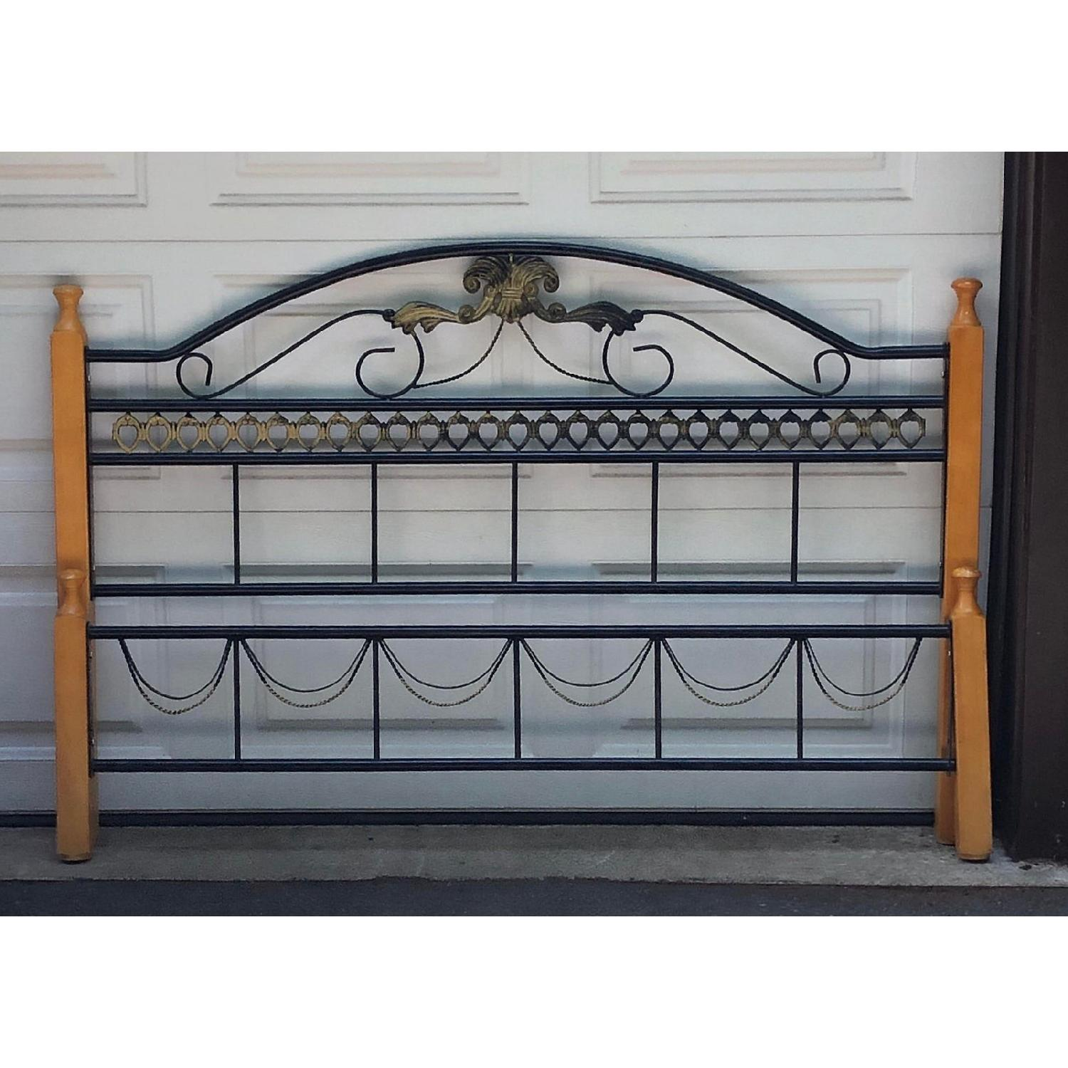 Fleur De Lis Oak & Rod Iron Scrolled Headboard & Footboard - image-3