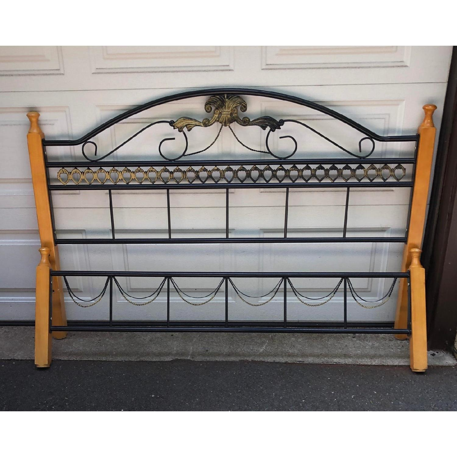 Fleur De Lis Oak & Rod Iron Scrolled Headboard & Footboard - image-4