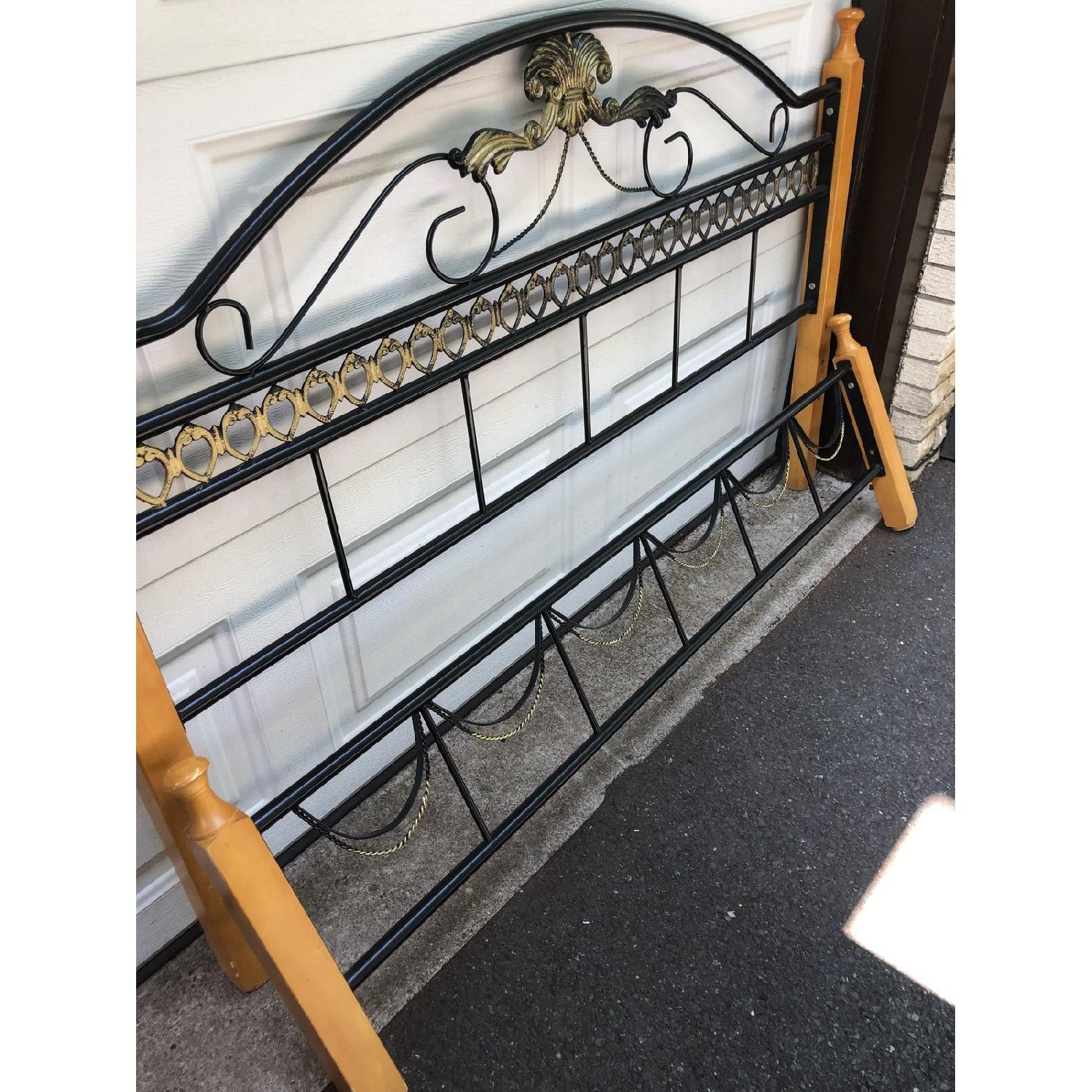 Fleur De Lis Oak & Rod Iron Scrolled Headboard & Footboard - image-5