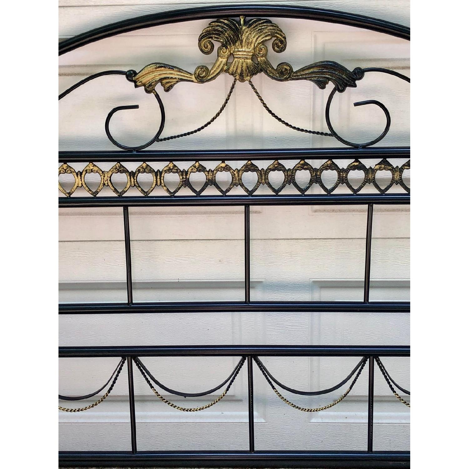 Fleur De Lis Oak & Rod Iron Scrolled Headboard & Footboard - image-6