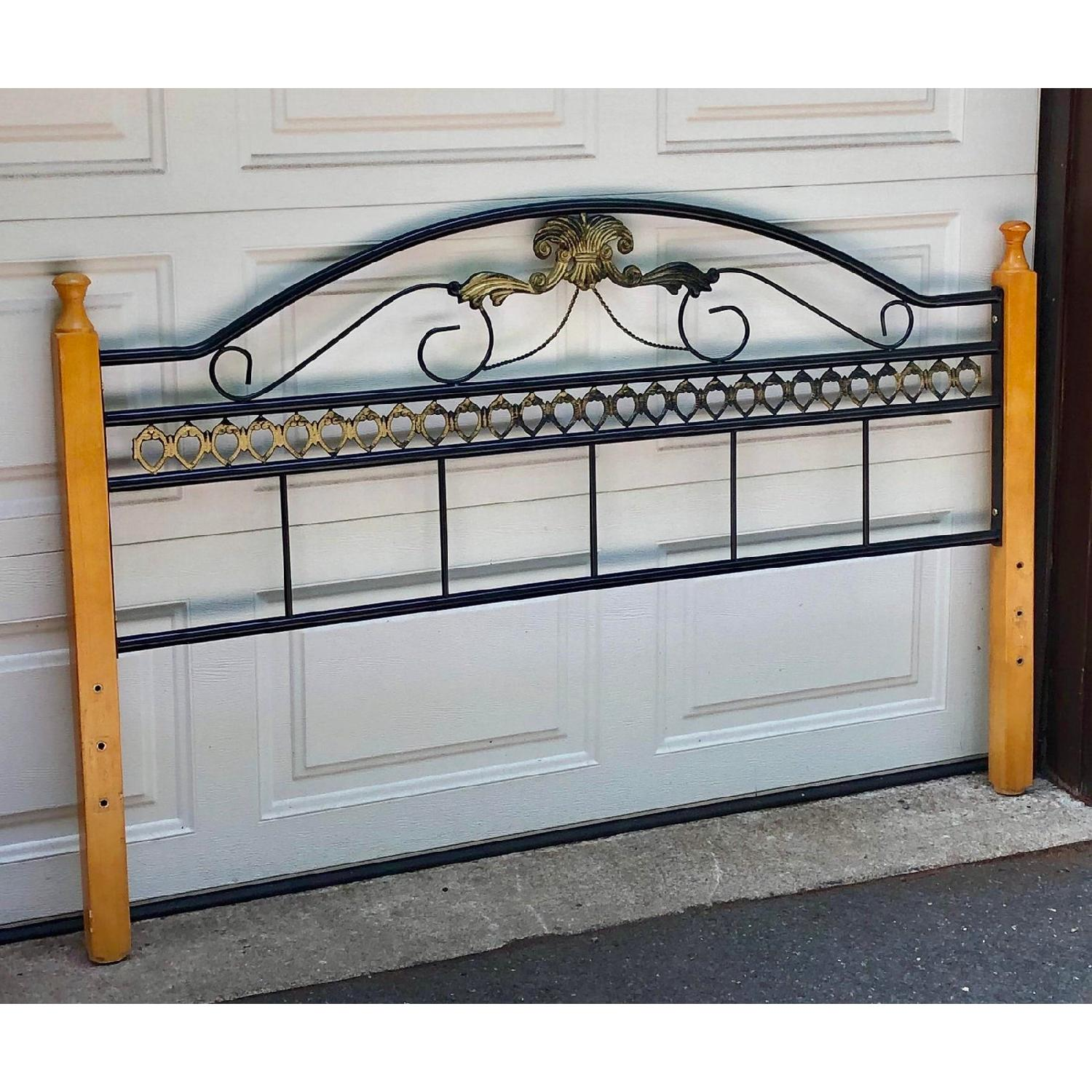 Fleur De Lis Oak & Rod Iron Scrolled Headboard & Footboard - image-7
