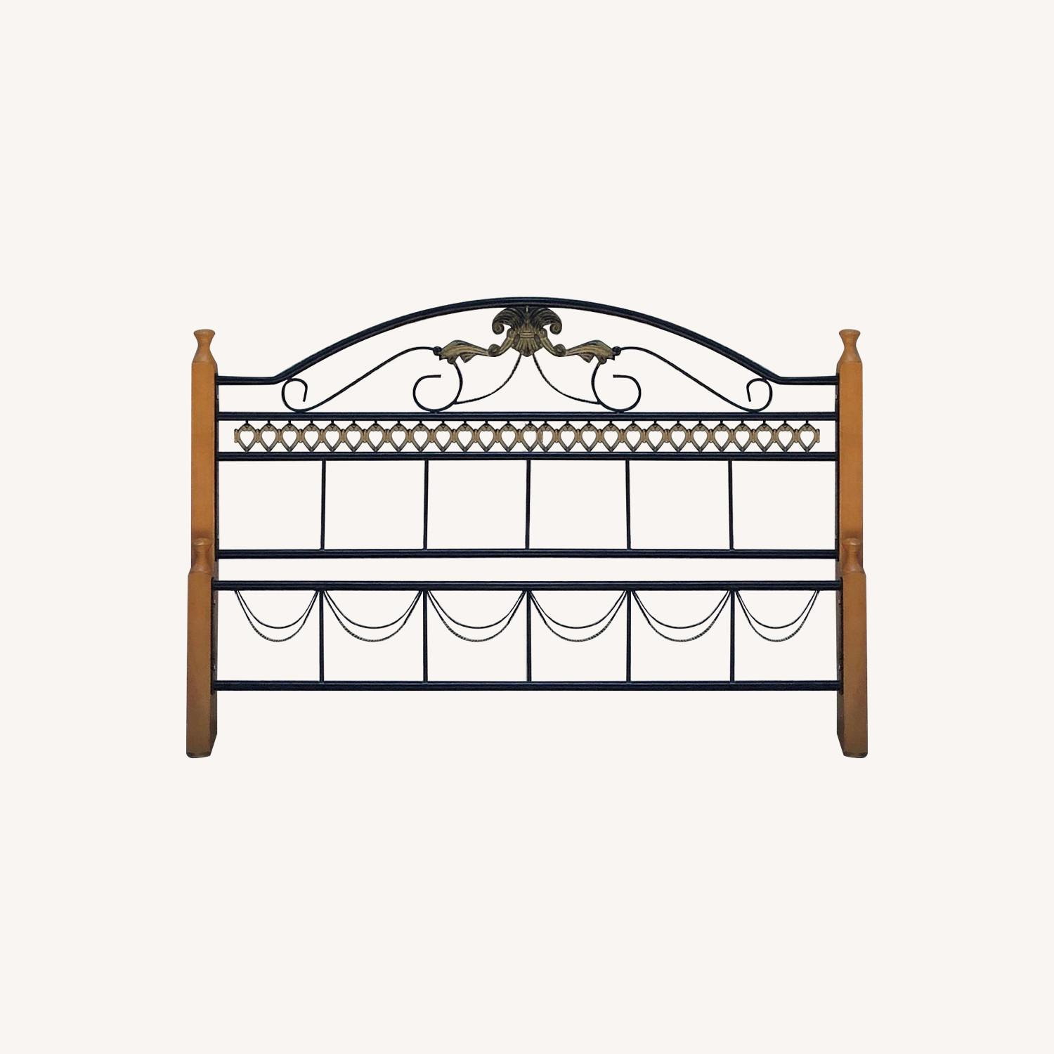 Fleur De Lis Oak & Rod Iron Scrolled Headboard & Footboard - image-0