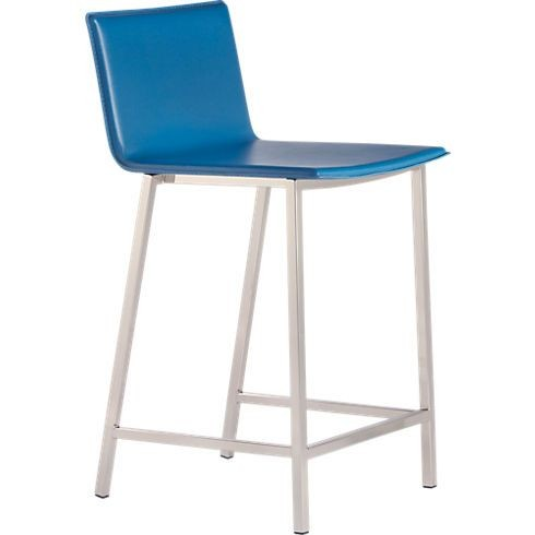 CB2 Turquoise Leather Bar Stools